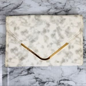 BCBGeneration White Marble Envelope Clutch